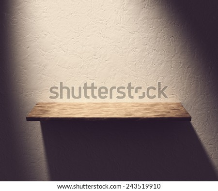 Illustration of White Shelve with light from the top