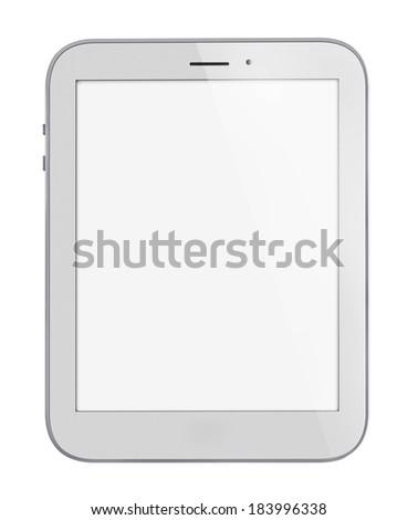 Illustration of white tablet pc similar to ipade on white background - stock photo