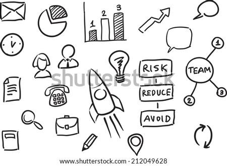 illustration of whiteboard business presentation template - stock photo