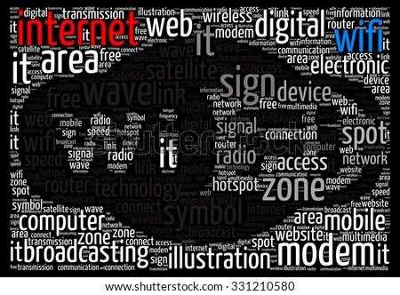 Illustration of wifi concept in modern word cloud