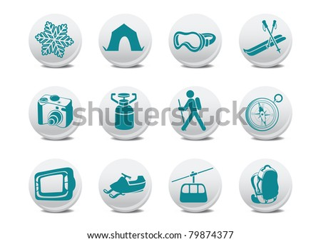 illustration of winter camping/ski buttons .You can use it for your website, application or presentation - stock photo