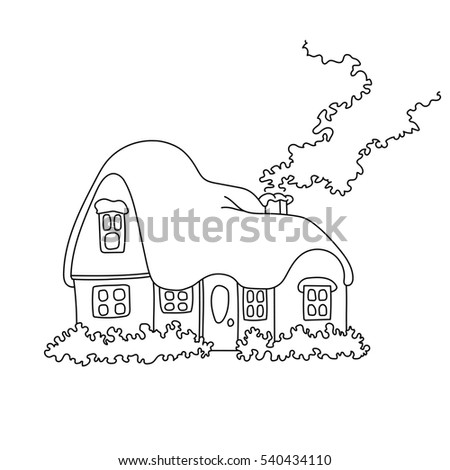 Illustration Winter Home Snow Coloring Book Stock Illustration ...