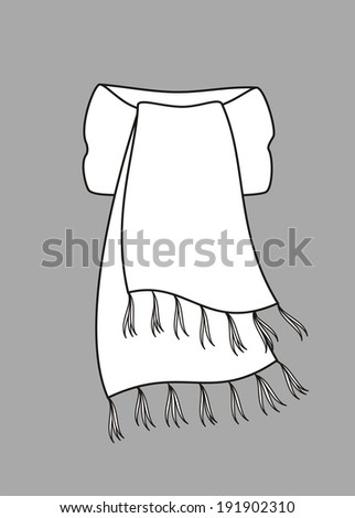 Illustration of winter knitted scarf. Raster version - stock photo