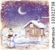 Illustration of winter landscape with snowman. Christmas scene with snowman and house - stock photo