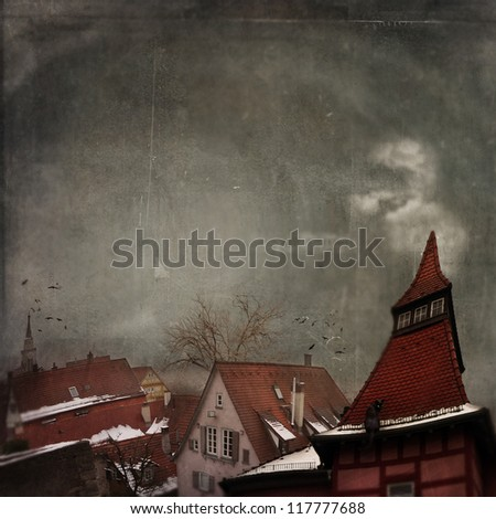 Illustration of winter town as fairy tail - stock photo