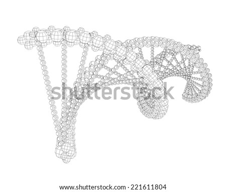 Illustration of wire-frame DNA chain. Isolated background - stock photo
