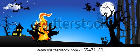 illustration of witches dancing around the fire at halloween