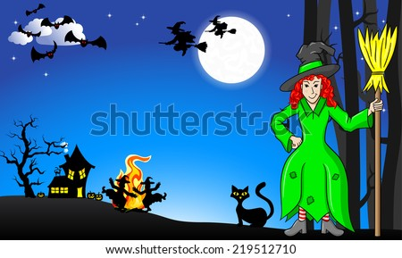 illustration of witches dancing around the fire at halloween - stock photo