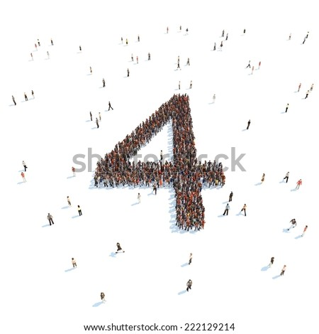 illustration of 4 with people - stock photo