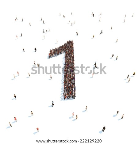 illustration of 1 with people - stock photo