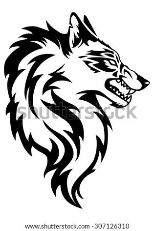 illustration of wolf face black and white tattoo over isolated white background
