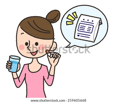 illustration of woman having capsule tablets with water glass