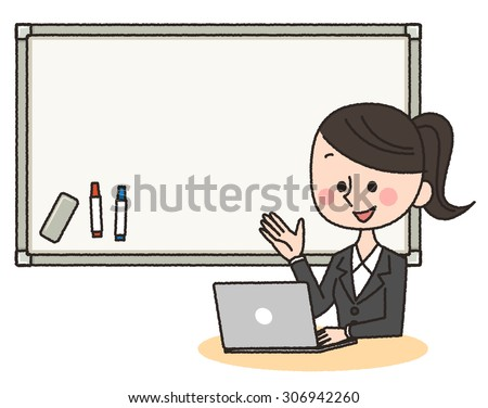 illustration of woman using computer in front of whiteboard