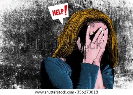 Illustration of woman who needs help - stock photo
