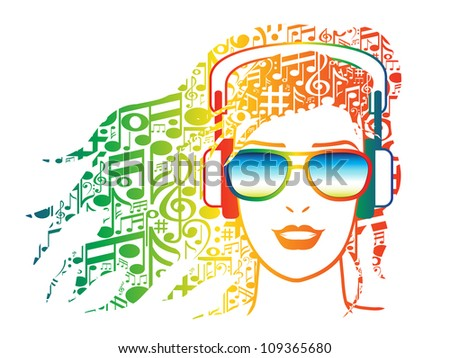 Illustration of woman with musical notes for hair wearing headphones. - stock photo
