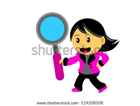 illustration of women cartoon character in chibi style - stock photo