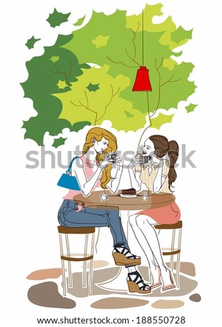 Illustration of 2 women drinking coffee under a tree