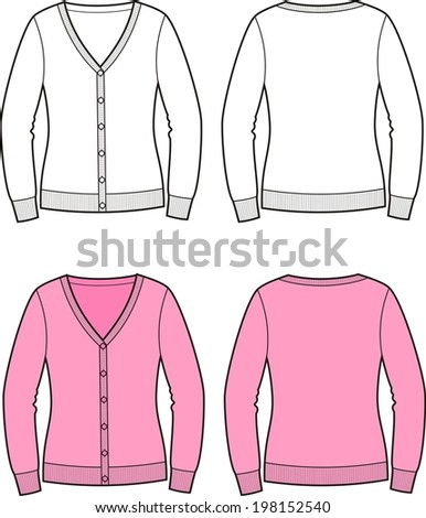 Illustration of women's cardigan. Front and back views. Raster version - stock photo