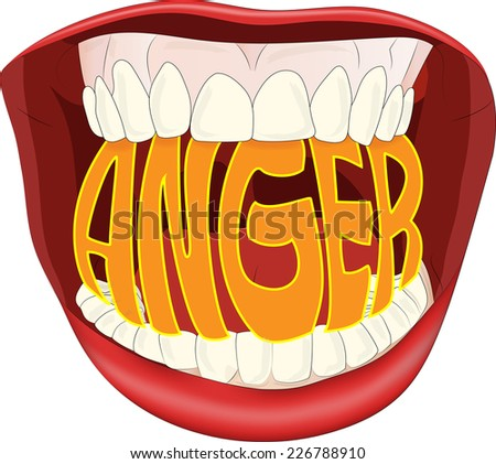 Illustration of word Anger inside a mouth.