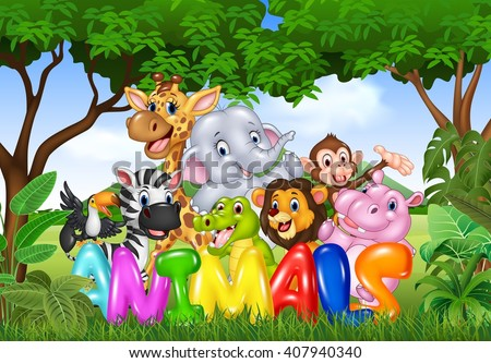 Illustration of Word animal with cartoon wild animal - stock photo