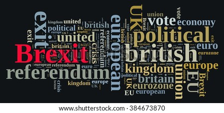 Illustration of word cloud on Brexit, the exit of United Kingdom of the European Union