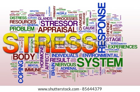 Illustration of word cloud related to stress. - stock photo