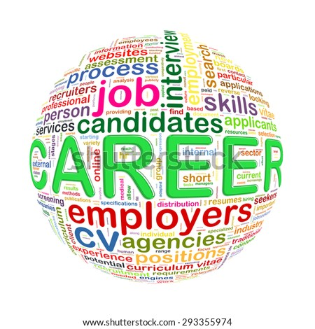 Illustration of word tags wordcloud ball sphere of career - stock photo