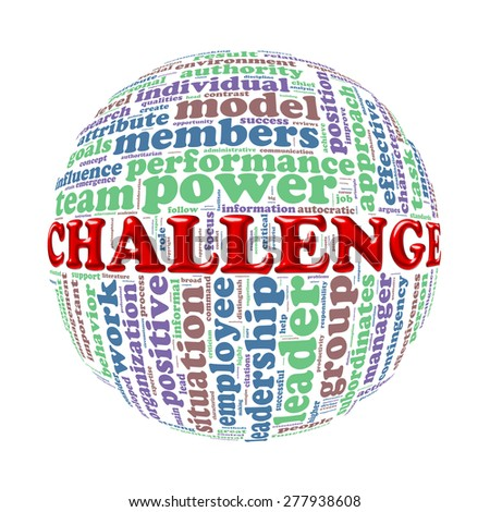 Illustration of word tags wordcloud ball sphere of challenge