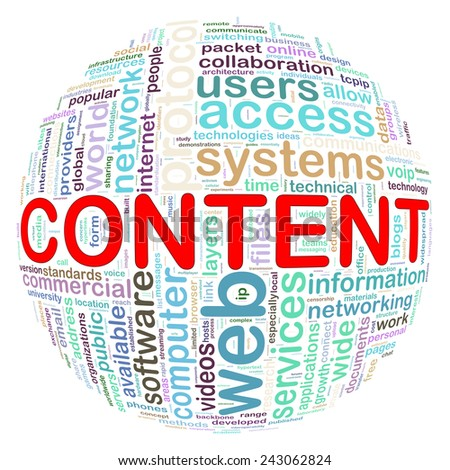 Illustration of word tags wordcloud ball sphere of content - stock photo