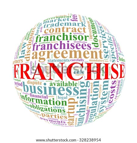 Illustration of word tags wordcloud ball sphere of franchise - stock photo