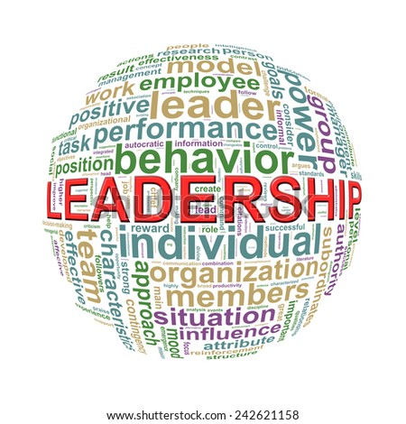 Illustration of word tags wordcloud ball sphere of leadership