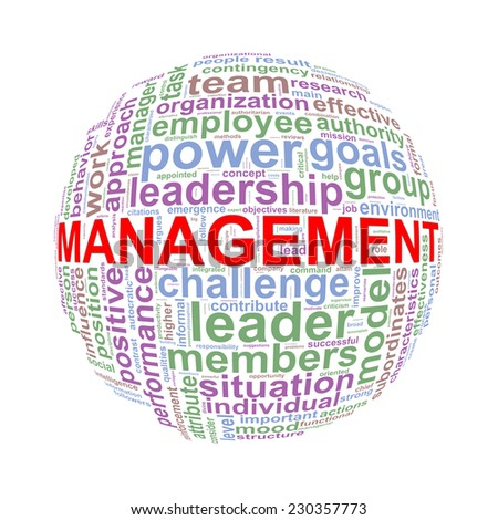 Illustration of word tags wordcloud ball sphere of management