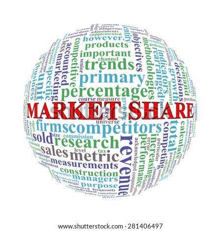 Illustration of word tags wordcloud ball sphere of market share