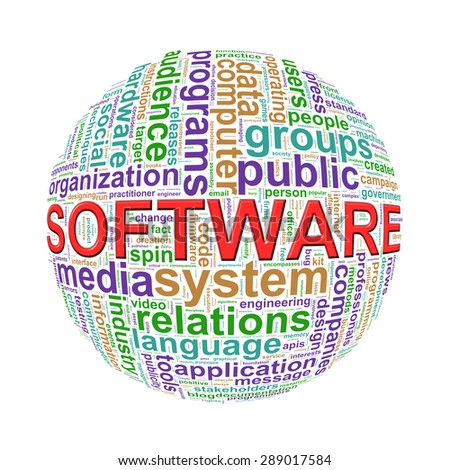 Illustration of word tags wordcloud ball sphere of software - stock photo