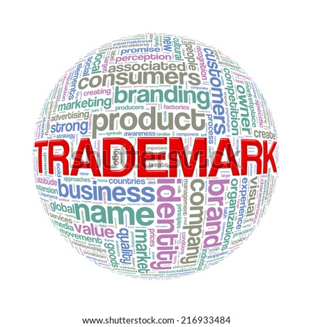 Illustration of word tags wordcloud ball sphere of trademark - stock photo