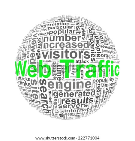 Illustration of word tags wordcloud ball sphere of  web traffic - stock photo