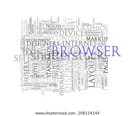 Illustration of word tags wordcloud of browser - stock photo