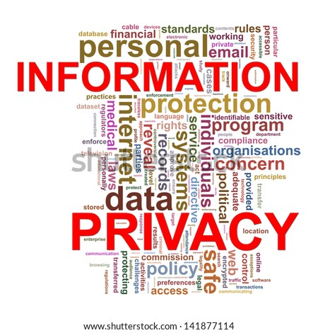 Illustration of word tags wordcloud s of information privacy. - stock photo