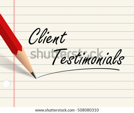 Illustration of word text client testimonials written with pencil on paper