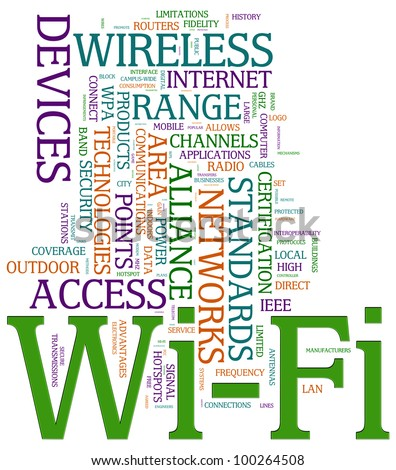 Illustration of wordcloud related to word wi-fi. - stock photo