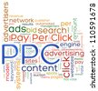 Illustration of wordcloud representing concept of PPC - pay per click - stock photo