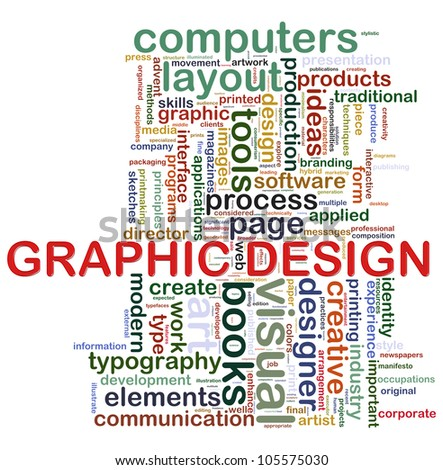 "Illustration of wordcloud tags related to concept ""graphic design"" - stock photo"
