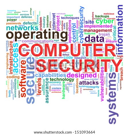 Illustration of Wordcloud word tags of computer security concept. - stock photo