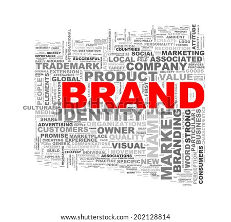 Illustration of wordcloud word tags of concept of brand - stock photo