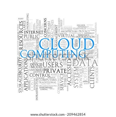 Illustration of wordcloud word tags of concept of cloud computing - stock photo