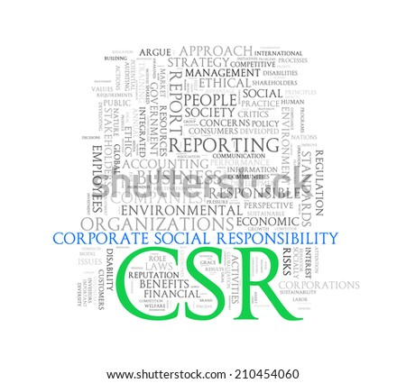 Illustration of wordcloud word tags of concept of csr corporate social responsibility - stock photo