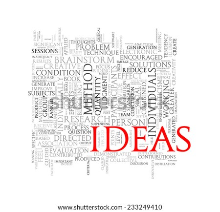 Illustration of wordcloud word tags of concept of ideas