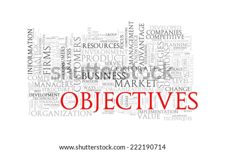Illustration of wordcloud word tags of concept of objectives - stock photo