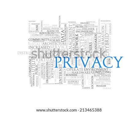 Illustration of wordcloud word tags of concept of privacy - stock photo