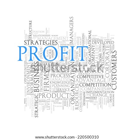 Illustration of wordcloud word tags of concept of profit - stock photo